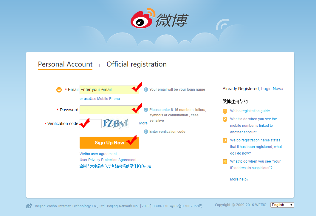 INFO: How to Create and Register an Account in Weibo + Follow