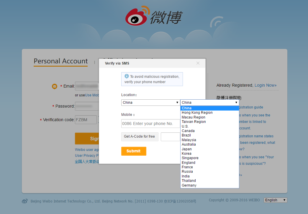 INFO: How to Create and Register an Account in Weibo +